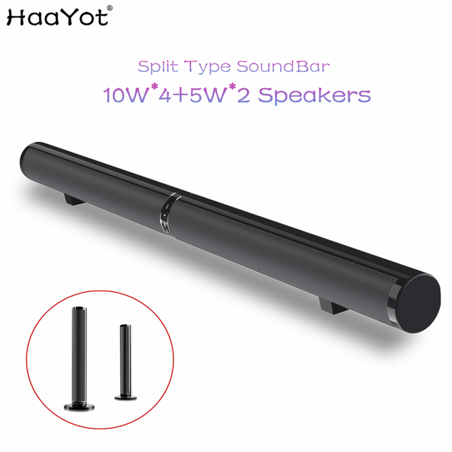 HAAYOT Split Type 50W HIFI Wireless Bluetooth Speaker Stereo Soundbar Support USB Optical RCA HDMI Subwoofer for TV Sound Bar