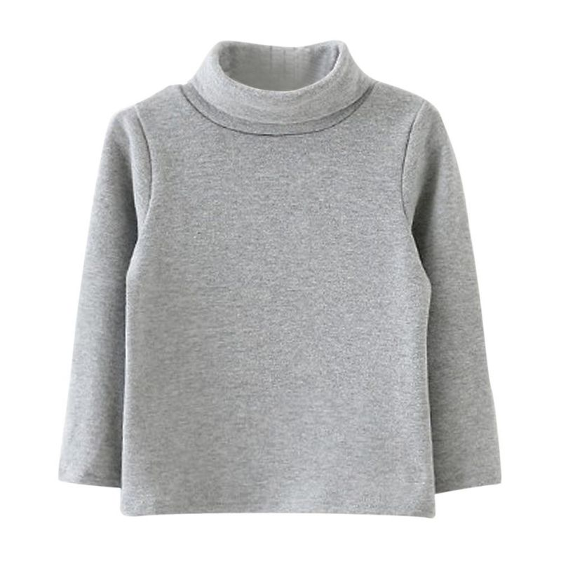 T-Shirt Baby-Boys-Girls Winter Long-Sleeved Cotton Children's New High-Necked