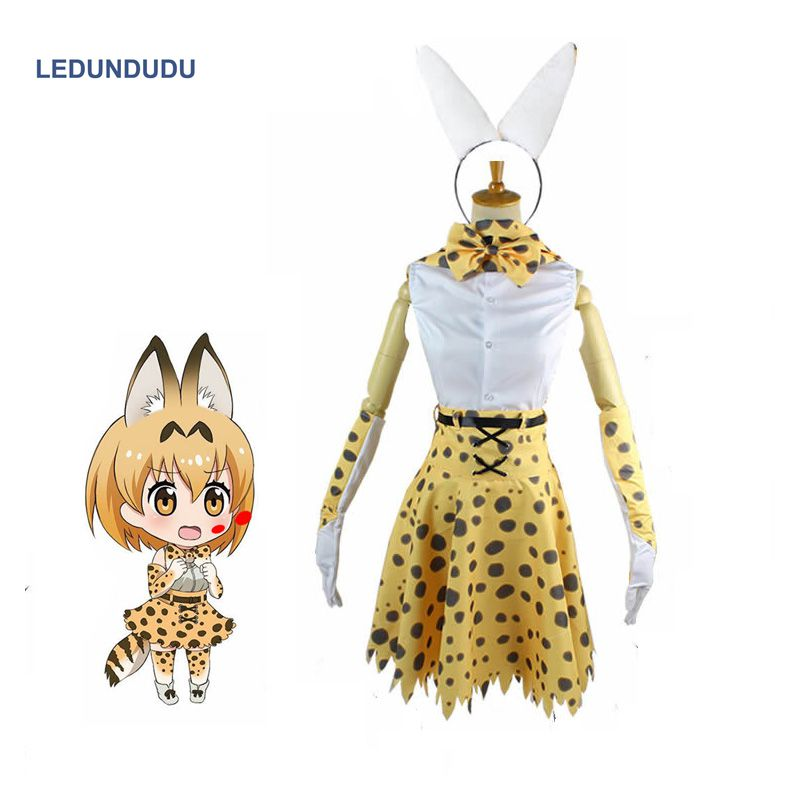 2019 Anime Kemono Friends Cosplay Costume Serval cat Uniform Project Leptailurus Women Sex Leopard Outfit set For Halloween
