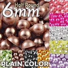 6mm 400 teile/los Plain Farben Halbe Runde Flache rückseite perlen nachahmung ABS Kunststoff perle Perle für frauen schmuck Zubehör DIY Nagel Kunst