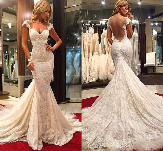 Sexy Sheer Back V-Neck Mermaid Wedding Dresses New Cap Sleeve White Lace Long Bridal Gowns Designer Beaded Mermaid Wedding Gowns