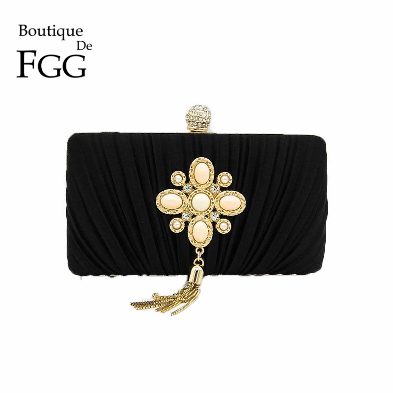 Beaded Appliques Crystal Tassel Women Black Satin Evening Bags Box Clutch Golden Metal Clutches For Bridal Wedding Party Handbag party box black