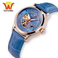 OUYAWEI Azul Esqueleto Relojes Mecánicos Mujeres 2017 Automática Luminosa Rosa de Cuero de Oro Reloj de Pulsera Para Muchachas de Las Señoras de Moda