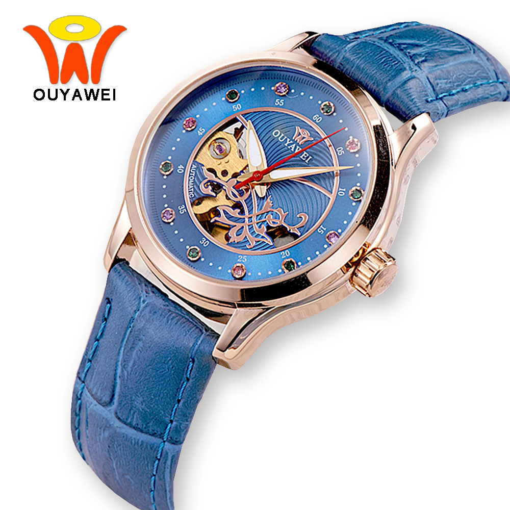 OUYAWEI Blue Skeleton Dial Mechanical Ladies Watches Automatic Wrist Watch for Women Fashion Rose Gold Leather Clock reloj mujer