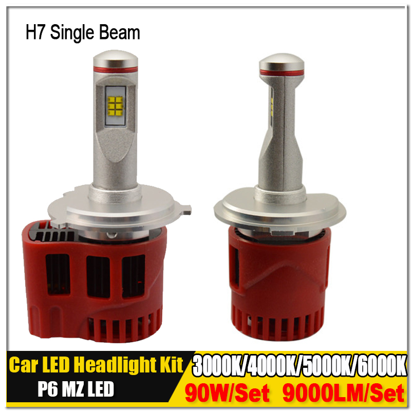 2X H7 3000K 4000K 5000K 6000K Super Bright P6 LumiLEDs ZES 90W 9000lm Car LED Bulb Headlight Fog Light Conversion Kit 2x 30w 3600lm h1 led headlight bulb all in one led car headlights gen2s car led headlight cree eti 3000k 5000k 6000k blue pink