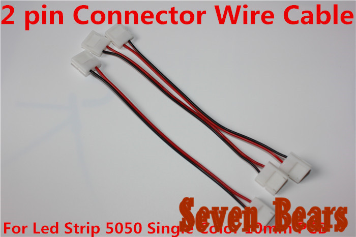 10 pcs15cm 2 pins Connector Wire Cable For Led Strip 5050 5630 5730 Single Color 10mm PCB led de 12V conectores image