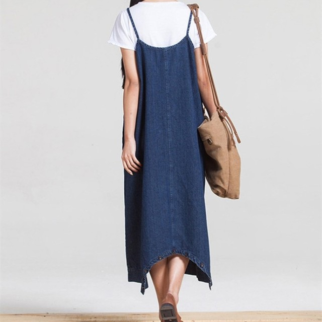 2017 summer women dress Beach  Office Vestidos   Denim dresses women spaghetti strap dress
