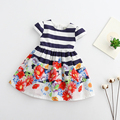 Girls Dress 2017 New Lovely Fly Sleeve Princess Party Dress Stripped Top And Printing Bebe Dresses Bebe Vestidos 3-8T