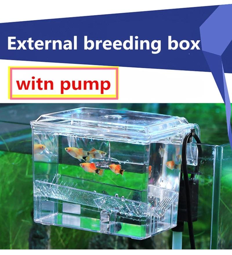 aquarium filter wall rack hanging aquarium fish tank isolation box hatcher with water pump 3 2w external breeding box incubator