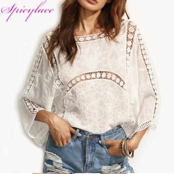 Wholdsale 40pc Blouses Beach Elegant Tops Blouses Lace Hollow Out Tops Street-wear Loose Casual Sexy Cotton Blouses фото