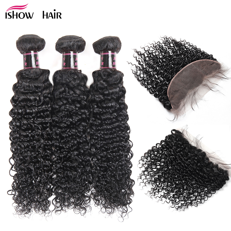 Ishow Curly Bundles With Closure Indian Hair 3 Bundles With Frontal Human Hair Bundles With Frontal