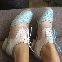Женские туфли-оксфорды на плоской подошве из натуральной кожи, винтажные туфли на плоской подошве с круглым носком ручной работы, белые, чер...