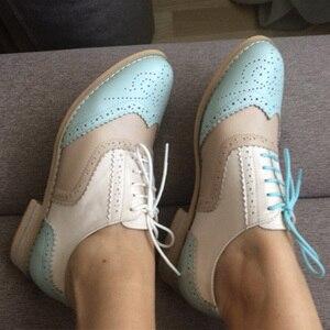Image 1 - Frauen Wohnungen Oxford Schuhe aus echtem leder vintage flache schuhe runde kappe handgemachte weiß schwarz oxford schuhe für frauen 2020 frühling