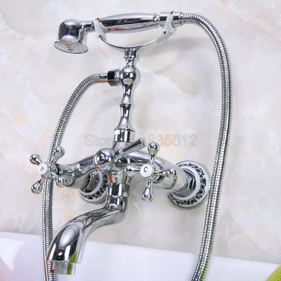 Wall Mounted Bathtub Faucet Clawfoot Bath Tub Mixer Tap Set Hand Shower Polished Chrome Dual Handles  tna195Wall Mounted Bathtub Faucet Clawfoot Bath Tub Mixer Tap Set Hand Shower Polished Chrome Dual Handles  tna195