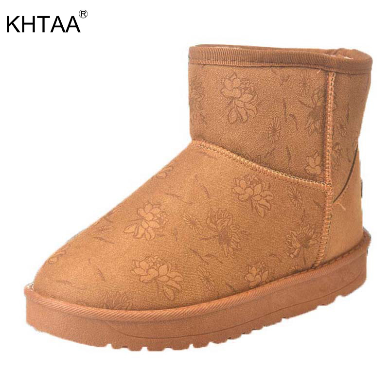 KHTAA Women's Warmer Plush Suede Flower Slip On Fashion Ankle Snow Boots 2017 Female Platform Rubber Winter Comfortable Shoes [wamami] black leather clothes suit for 1 3 sd aod dod dz bjd dollfie