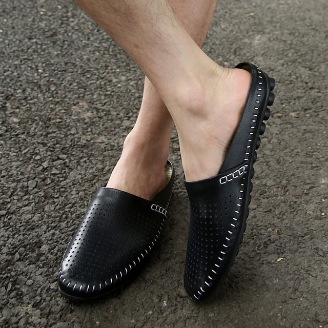 Summer Slippers Men Casual Shoes Leather Slip On Half Shoes Big Size Summer Breathable Mens Half Loafers Lazy Shoes For M