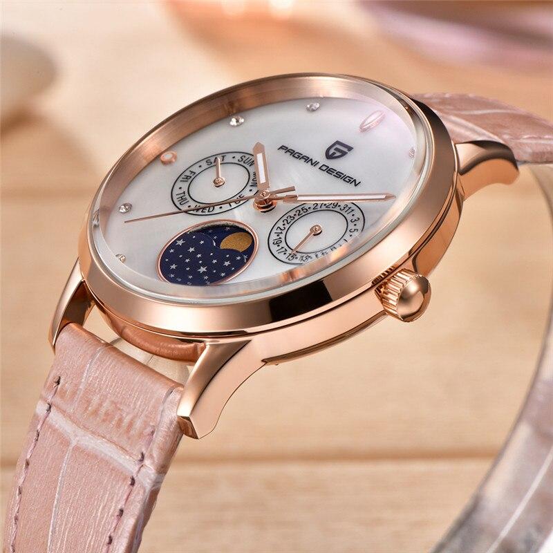 Pagani Design Ladies Fashion Quartz Watch Women Leather Casual Dress Women s Watch Rose Gold Crystal