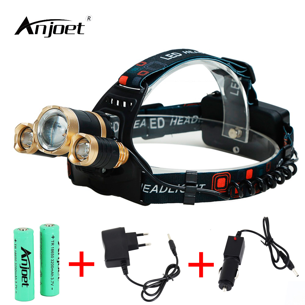 ANJOET 10000 Lumen Headlight Headlamp Zoom Flashlight Torch 3 XML-T6 LED Head Lights Lamp with Batteries + Car/AC Charger fenix hp25r 1000 lumen headlamp rechargeable led flashlight