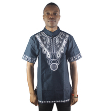 African Front and Back Ethnic Embroidery Men`s Dashiki Tops Male Summer Formal Folk Shirts