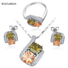 Африканский бисер, ювелирный набор, заполненный серебром, цветной кристалл, Модный Ювелирный Набор, серьги, ожерелье, кольцо, Sz#6#7#7,5#8#9 JS564