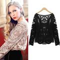 2015 New Summer Blouse Women Crochet Lace Floral Semi Embroidery Blouse Tops Shirt Sexy Hollow Blouse Freeship Limited