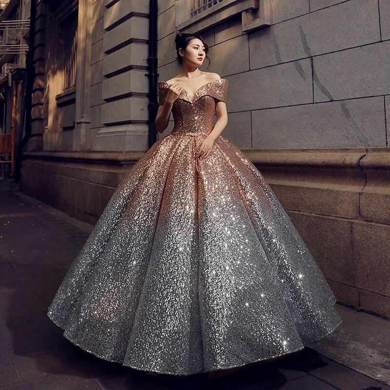 Argent brillant Ombre or Sequin Quinceanera robes pour 15 ans mascarade robes de bal épaule dénudée col en v douce 16 robe 2019 - 4