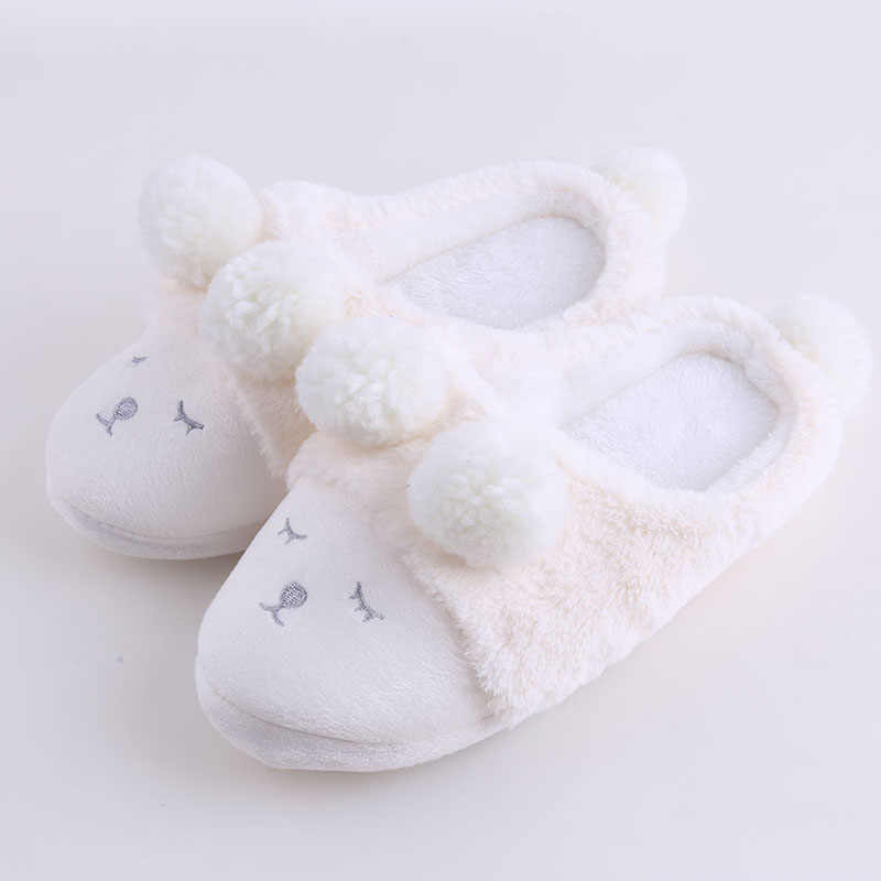 fd5df2c4effe6 Cute Women Winter Home Slippers Cartoon Sheep Shoes Non-slip Soft Winter  Warm House Slippers