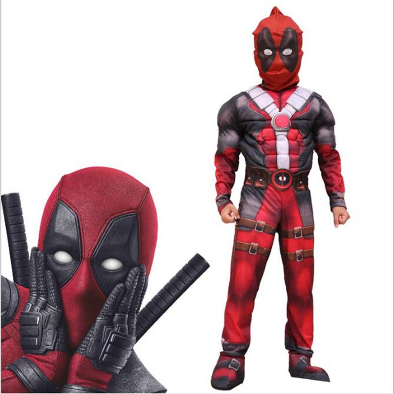 Deadpool Costume Kids Deluxe Muscle Superhero Cosplay Halloween Costumes for Child Boy's Birthday Party Clothing M  L XL