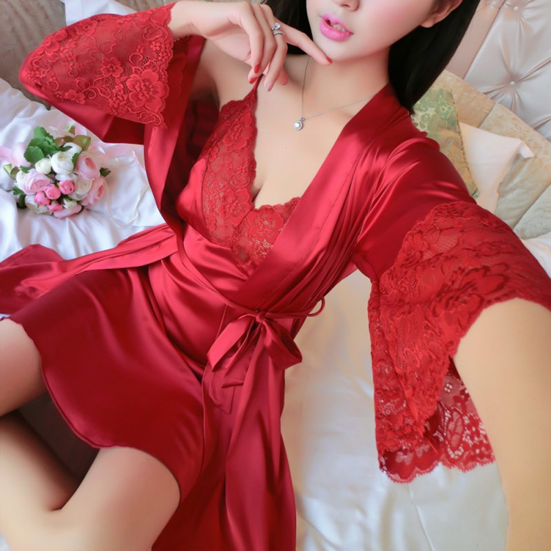 bcb056bc4dbf Sexy Women Silk Satin Lady Pajamas Sleepwear Robes Nightdress Nightgown 2PCs  Newest-in Robes from Underwear   Sleepwears on Aliexpress.com