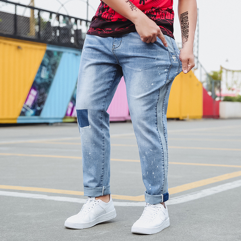 2019 New Fashion Denim Man Stretch   Jeans   Mens Desinger Bike Classic Straight Plus Size 28-44 46 48 Hip Hop Punk Streetwear