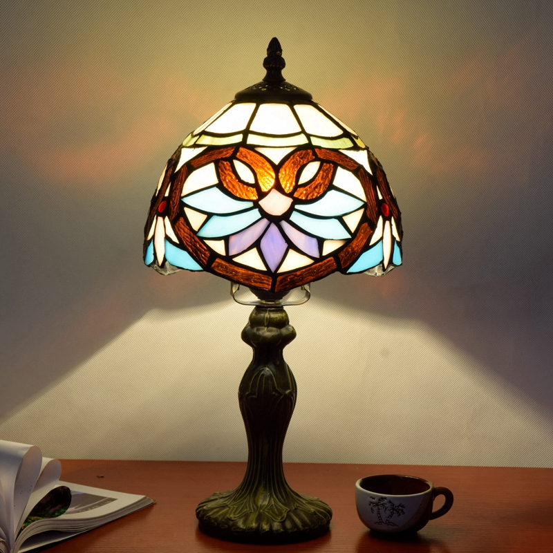 Originality color glass Love Baroque desk lamp American Pastoral countryside Warm colors Decorative light 110-240V Dia:20CM originality stained glass garden flower desk lamp american pastoral countryside hotel barbedside led lamp 110 240v dia 20cm
