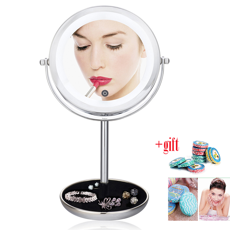 LED Lighted Makeup Vanity Mirror Double 2 Sided 5X magnifying pocket mirror Adjustable Touch Screen Make Up Mirror Gift цена