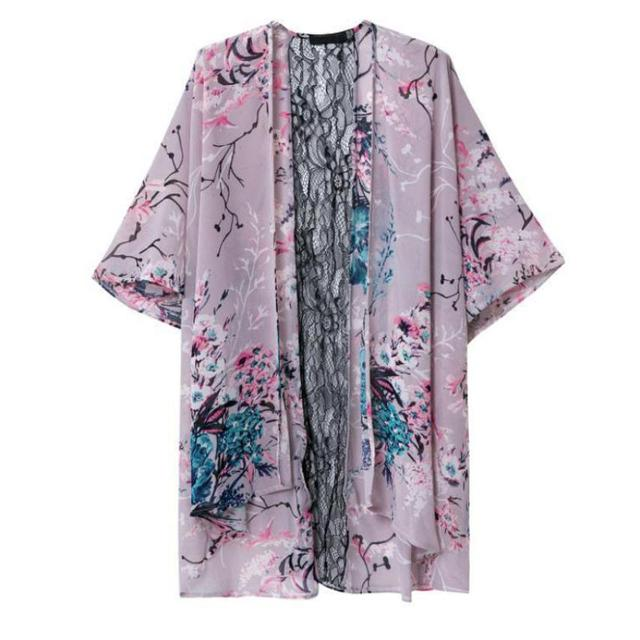 6007bb2bac4 2019Women Floral Short Sleeve Lace Splice Chiffon Kimono Cardigan Tops  Blouse coats female 2016 New fashion hot