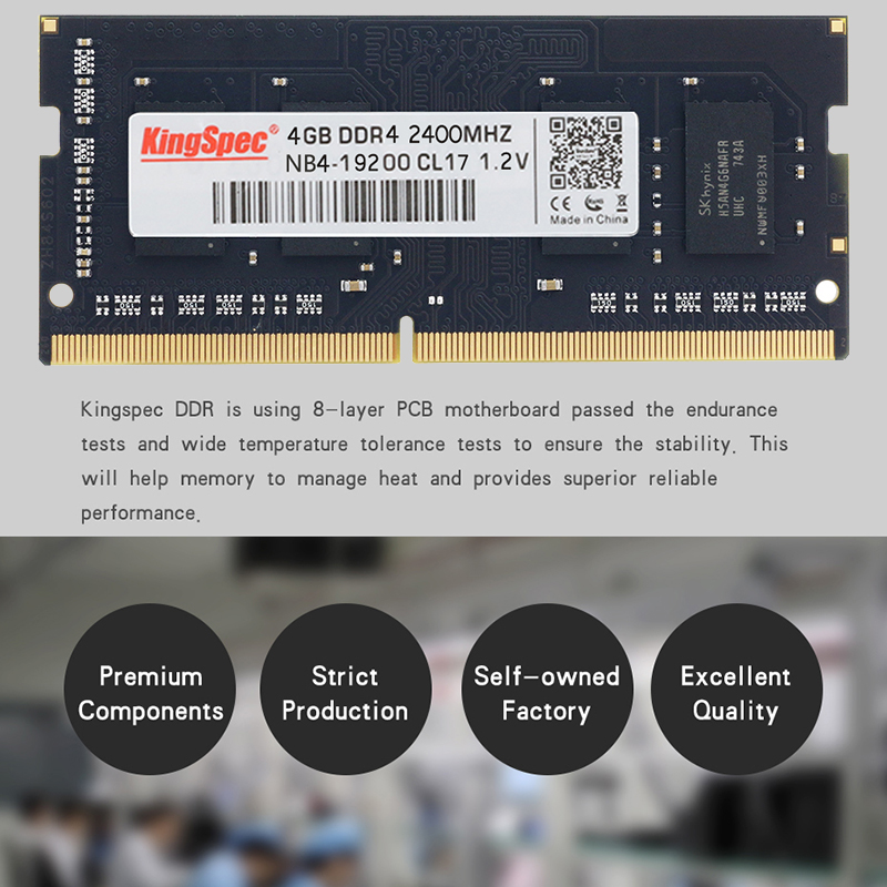 2018 KingSpec D'origine 4 gb 8 gb 16 gb Mémoire Ram 2400 mhz PC4-19200 Pour Bureau D'ordinateur Portable De Haute Vitesse RAM livraison Gratuite