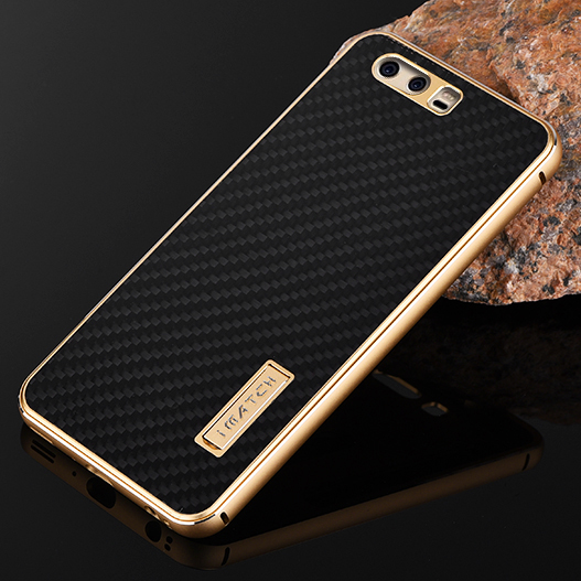 For Huawei P10 Plus Case Metal Luxury Aluminum Bumper Real Carbon Fiber Hard Back Case Cover