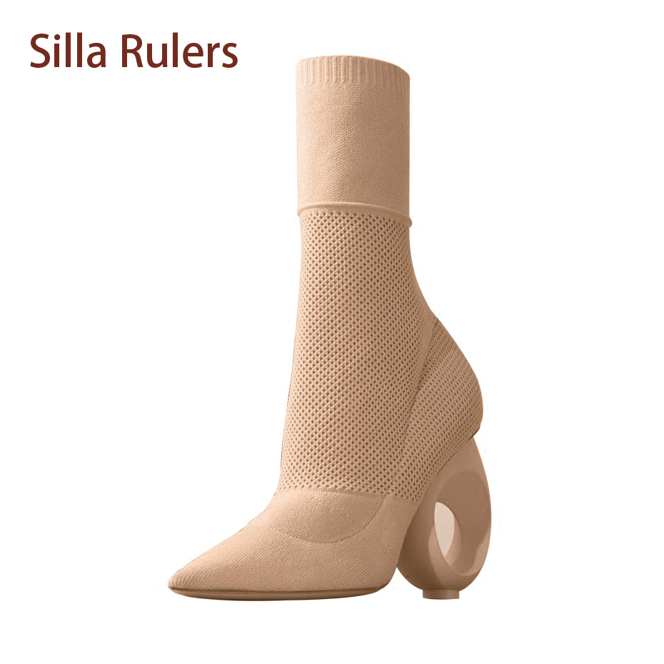 Silla Rulers New Arrival Knitting Wool Stylish Boot For Women Camel Black Hollow Round Strange Heels Slim Bota Elastic Sock Boot
