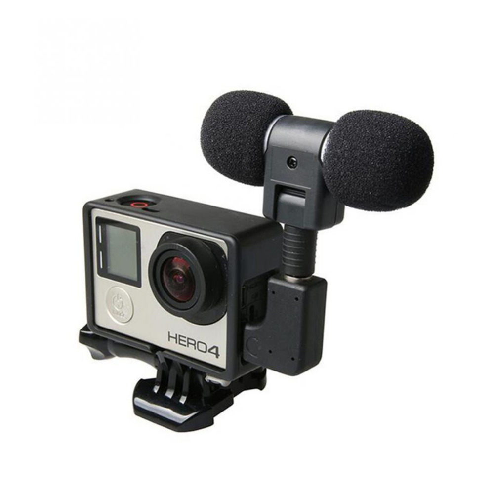 Mini Stereo Mic for Go Pro Hero4 Protective Frame for Gopro Hero 4 3+ 3 USB to 3.5mm Microphone Adapter Cable Cord