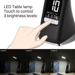 Image 5 - 5W LED Touch Table Lamp Dimmable Table Lamp Desk Lamp Alarm Clock Calendar Time Temperature Display 3 Levels Brightness