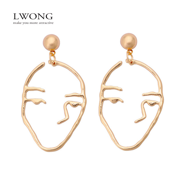 LWONG 2017 New Trendy Gold Color Face Earrings for Women Designer