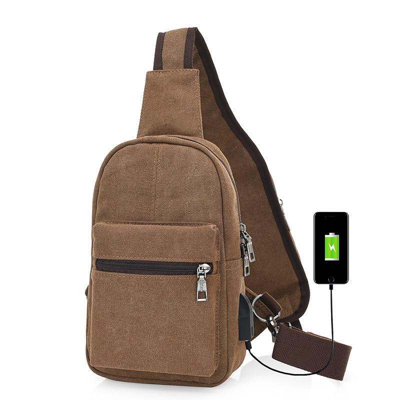 2018 New Business Mens Canvas External USB Charging Bag Anti-theft Waterproof USB Messenger Chest Stick Bag Crossbody Package