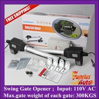 Stock Clearance ! Free Shipping 110V AC Input 300KGS double leafs swing gate opener, stainless steel automation gate operator