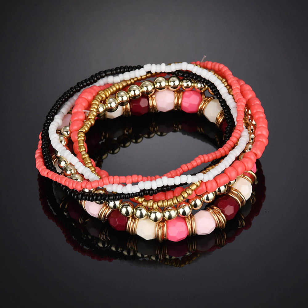 Bohemian Summer Jewelry MutiLayer Beads Bracelets & Bangles for Women Elastic Strand Pulseras Mujer Femme Bijouterie