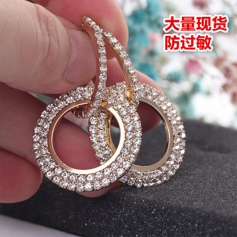 Euro American fashion exaggeration personality circle triangle love Earrings wish explosive Earrings in Drop Earrings from Jewelry Accessories