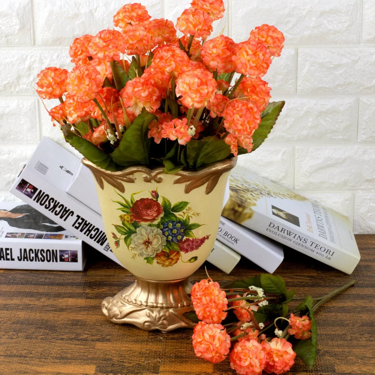 New 9 Heads Artificial Hydrangea Bouquet Party Home Wedding Fake