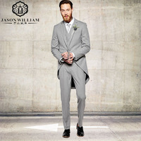 LN091 Silver Notched Lapel Groom Suits Tail Coat Three Pockets Groom Tuxedos One Buttons Hot Best Man Suits Blazer 3 pieces