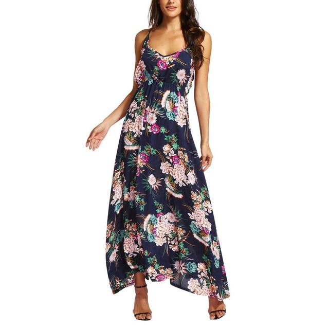 9591087eda Women Boho Beach Dress Floral Print V-Neck Sleeveless Long Dresses Summer  Bohemian Maxi Dress  L