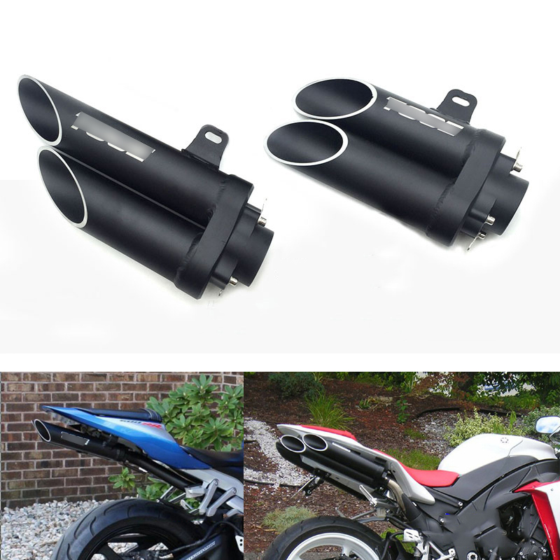 Universal 38-51 mm Titanium Alloy Motorcycle Dual-outlet Exhaust Tail Pipe No DB Killer with Welding Adapter for Dirt Bike ATV