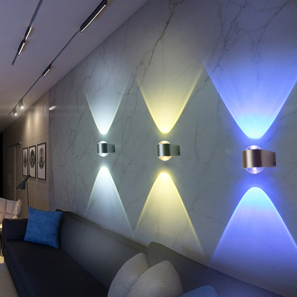 Villa living room tv wall stairs and corridors - 2pcs Modern Sconce Wall Lights Lamps 2 Ports Aluminum Tv Background For Bar Ktv Bedroom Corridor Stair Arandelas Para Parede Ur