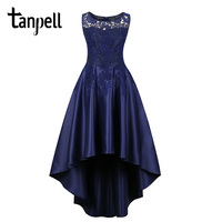 Tanpell asymmetry homecoming dress dark navy scoop sleeveless tea length a line gown women graduation lace homecoming dresses
