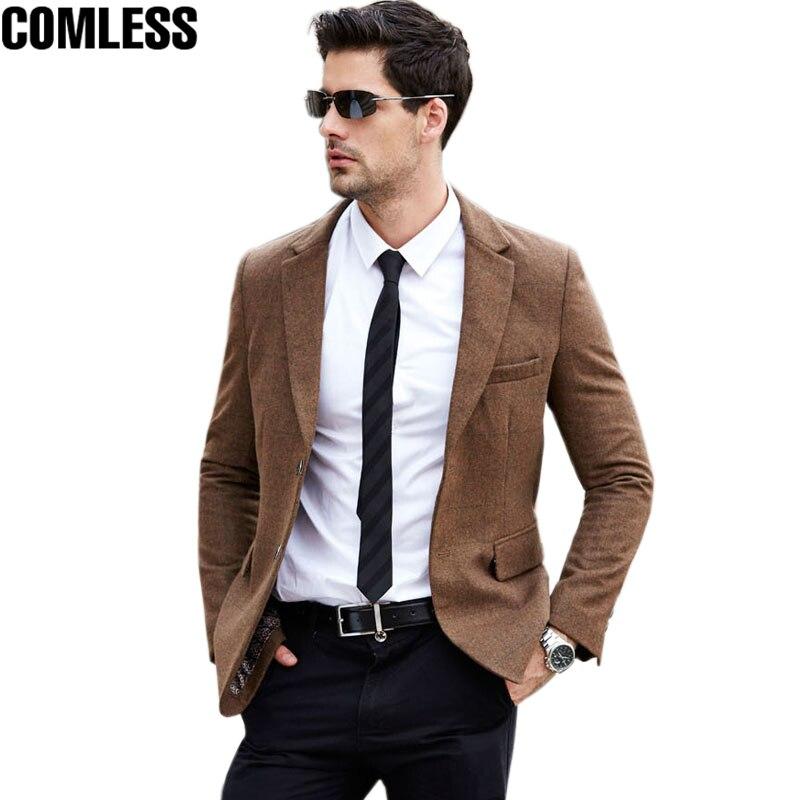 2017 New Winter Wool Casual Suit Men High Quality Fashion Blazer Masculino Slim Fit Blazer Men British Latest Coat Clothing XXXL
